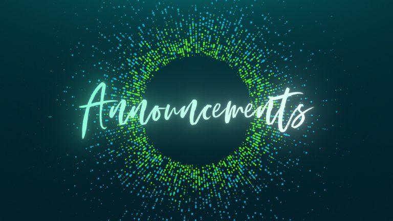 Announcements 03/29/2020